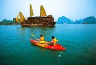 With traditional features combined with modern and luxury style, Victory Star Cruise guarantees to bring you not only a single journey on Halong Bay but also a unique travel experience. She was designed sophisticatedly and graved in details by most of famous artists and skillful people from Dong Ky, Bat Trang Pottery village, embroidery village in Ninh Binh Province