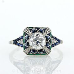 Art Deco Style Diamond, Emerald and Sapphire Ring - 10-1-2702 - Lang Antiques