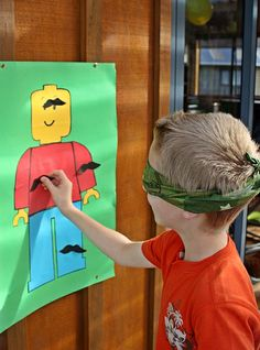 Preschool game: Pin the mustache on the minifig.