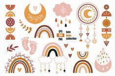 Rainbow Clipart, Summer Clipart, Baby Clip Art, Baby Embroidery, Cute Elephant, Nursery Wall Art, Nursery Ideas, Rainbow Baby, Boho Baby