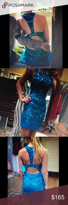 Homecoming dress Teal, Beaded Dresses Prom