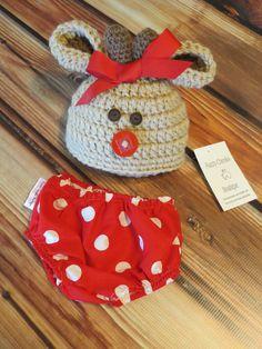READY TO SHIP Newborn Baby girl Reindeer Christmas by callyfindlay
