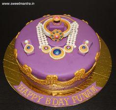Indian Jewellery, Ornaments theme customized cake for wife - cake by Sweet Mantra - Customized cakes, Designer Wedding/Engagement cakes in Pune 3d Cakes, Cupcake Cakes, Cake Home Delivery, Engagement Cakes, Wedding Engagement, Edible Pearls, Chocolate Truffle Cake, Luxury Cake, Fondant Wedding Cakes