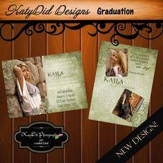 Free printable graduation invitations make your own graduation olive green damask new graduation announcement template design filmwisefo