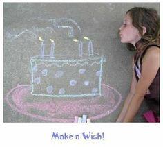 Cool birthday photo idea using sidewalk chalk