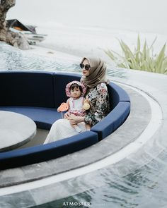 Image may contain: 2 people, outdoor Korean Babies, Outdoor Furniture, Outdoor Decor, Modest Fashion, Cute Kids, Muslim, Daughter, Mom, People