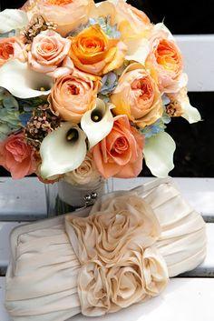 Pomarańczowy bukiet ślubny
