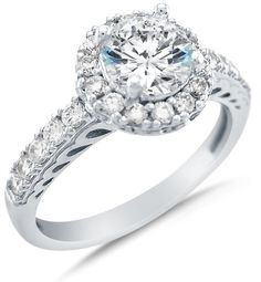 Promise Rings Simple | Size 55  Solid 14k White Gold Cirque Halo Round Brilliant Cut Solitaire with Round Side Stones Highest Quality CZ Cubic Zirconia Engagement Ring 175ct >>> You can find more details by visiting the image link.(It is Amazon affiliate link) #onlineshopping