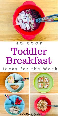 Jan 2020 - No-cook breakfast toddler food recipes that are quick and easy to prepare. These breakfast toddler meals are good for busy mornings, busy moms, and on-the-go mornings while still feeding your toddler a lot of nutritious foods! Healthy Toddler Breakfast, Healthy Toddler Meals, Toddler Lunches, Breakfast For Kids, Kids Meals, Breakfast Recipes, Toddler Food, Healthy Lunches, One Year Old Breakfast Ideas