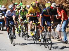 Nairo Quintana of Colombia and Movistar Team, Alberto Contador of Spain and Tinkoff-Saxo, Chris Froome of Great Britain and Team Sky and Alejandro Valverde of Spain and Movistar Team ride up the Alpe d'Huez during the twentieth stage of the 2015 Tour de France, a 110.5 km stage between Modane Valfrejus and L'Alpe d'Huez on July 25, 2015 in Modane Valfrejus, France. #TDF2015 #rm_112
