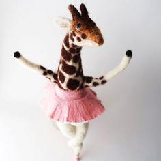 Original Needle Felted Animal Art Doll Ballerina  by MissBumbles