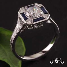 The sapphire and diamond halo is exquisite