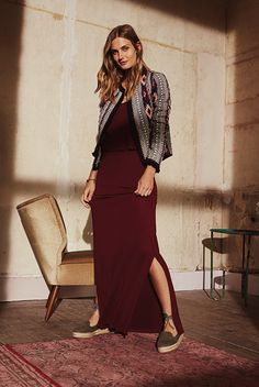 Burgundy maxi dress with slits (Primark)