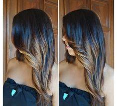balayage cheveux et couleur miel avec coupe longue