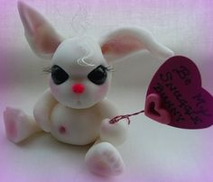 Snuggle Bunny ~ polymer clay ~ by Wicked Little Monsters