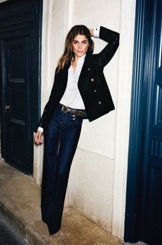 Flare jeans, white oxford, and blazer