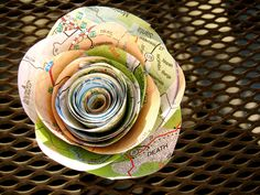 This paper flower was made with a map