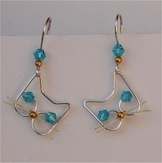 Silver wire blue crystal cat earrings