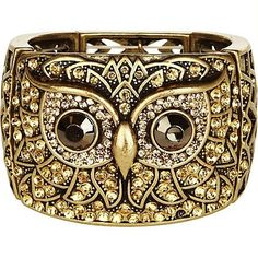 Gold look antique owl stretch bracelet by ruth