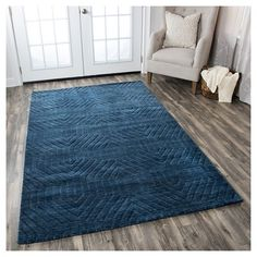 Rizzy Home Technique Collection Hand-Loomed 100% Wool Area Rug, Blue, Durable