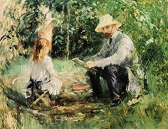 Berthe Morisot ~ (1841-1895) ~  Eugène Manet et sa fille Julie dans le jardin de Bougival