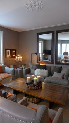 Seths Wall Color Warm And Cozy Living Room In Taupe With A Touch Of Orange
