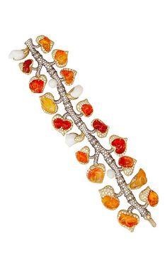 One Of A Kind Fire Opal, Natural Clam Pearl, And Diamond Vine Bracelet by Nicholas Varney   Moda Operandi