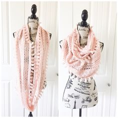 "Pretty Pink Infinity Scarf This pretty scarf is a light pink color with cute soft tassels lining the sides, it's light enough for multi seasonal wear{actual color of item may vary slightly from pics}  *width:12"" *length:36"" *material/care:100% acrylic hand wash  *condition:new rips/stains   20% off bundles of 3/more items No Trades  NO HOLDS No transactions outside of Poshmark  No lowball offers B.P Nordstrom  Accessories Scarves & Wraps"