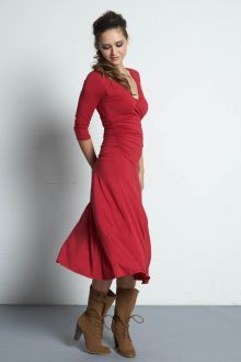 Mothers En Vogue Dana 3/4 Sleeved Bamboo Nursing Dress, Crimson Red - Izzy's Mum Breastfeeding Clothing
