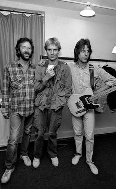 Eric Clapton with Sting and Jeff Beck backstage at the Secret Policeman's Ball concert - London 1981