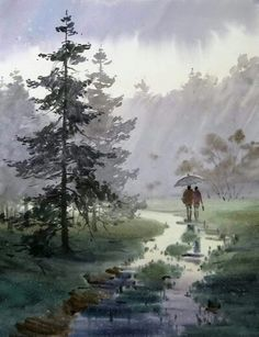 Watercolor Scenery, Watercolor Landscape Paintings, Watercolor Drawing, Abstract Landscape, Painting & Drawing, Watercolor Artists, Rain Painting, Drawn Art, Watercolor Techniques