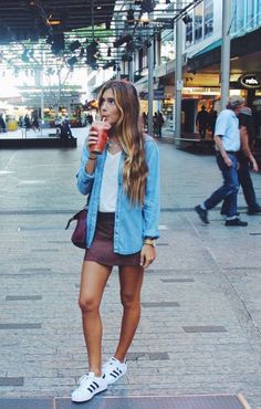 Love outfits that can be worn with sneakers adidas superstar outfit summer, addidas superstar, Mode Outfits, Fall Outfits, Summer Outfits, Casual Outfits, Fashion Outfits, Womens Fashion, Sneakers Fashion, Sneakers Style, Casual Skirts