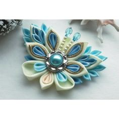 Blue Ivory butterfly hair clip/Kanzashi hair clip/ Butterfly hair... ❤ liked on Polyvore featuring accessories and hair accessories