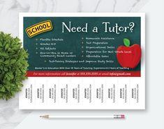 Made to Order Tutor Tear Off Marketing Flyer, Fun Tutor Flyer, Teacher, Chalkboard with Apple Tutor