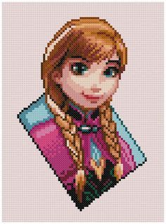 PDF Cross Stitch pattern Princess Anna Frozen by PDFcrossstitch Disney Cross Stitch Patterns, Counted Cross Stitch Patterns, Cross Stitch Charts, Cross Stitch Embroidery, Disney Stitch, Cat Cross Stitches, Cross Stitching, Princess Anna Frozen, Modele Pixel Art