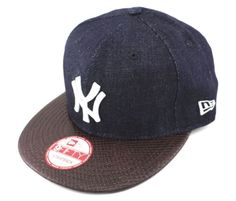 NEW ERA - 9FIFTY STRAPBACK CAP. DENIM SNAKE NEW YORK YANKEES. Brown OTC f7410002c