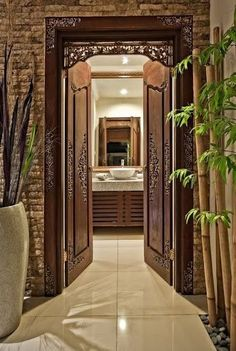 Bali villa bathroom - Interior Decorating With Plants and Palm Trees Spa Interior, Interior Exterior, Bathroom Interior, Interior Decorating, Guest Bathroom Remodel, Bathtub Remodel, Shower Remodel, Bathroom Remodeling, Balinese Bathroom