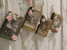 Antique books adorned in French postcards by AnitaSperoDesign