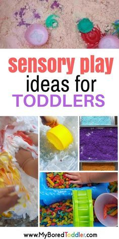 A collection of toddler sensory play activities and ideas. Sensory bins, sensory bottles, sensory bags, water play, messy play. Great sensory toddler play for one year olds, two year olds, three year olds. #sensoryplay #toddleractivity