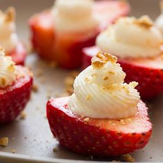 A quick and easy dessert recipe made with strawberries, cheesecake filling, and crumbled graham crackers. We call this Deviled Hearts.