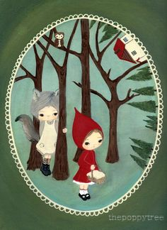 Hey, I found this really awesome Etsy listing at https://www.etsy.com/listing/54604742/little-red-riding-hood-print-forest