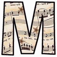 "ArtbyJean - Vintage Sheet Music Alphabet ""M"""