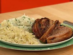 Irish Pub Meatloaf made with corned beef brisket, ground beef, Cheddar and wrapped in bacon - delish.  Rachael Ray Show.