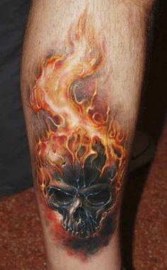 Majestic Flaming Skull Tattoo On Forearm: Real Photo Pictures ...