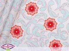 Ausgefallener USA - Designerstoff aus dem Hause Riley Blake.  Verona - hellblaue/koralle - farbene Blumen auf weißgemustertem Hintergrund - ein...