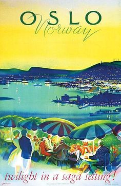 Vintage Poster: Yran, Knut (?-1998) Oslo, Norway lithograph in colours, 1965, printed by Trygve B. Pedersen & Sonn., Oslo, view from The Ekeberg restaurant