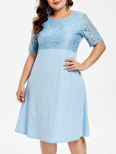 Lace Panel Round Neck Plus Size Shift Dress Plus Size Blouses, Plus Size Tops, Straight Dress, Crop Top Shirts, Blouses For Women, Plus Size Fashion, Long Sleeve Tops, Floral Tops, Casual Dresses