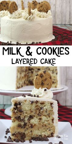 This Milk and Cookies Cake is a decadent dessert loaded with chocolate chips and rich vanilla. Such a fun and delicious cake recipe! cake recipe MILK AND COOKIES CAKE - Chocolate Chip Cake Layered With Cookie Dough Easy Cheesecake Recipes, Delicious Cake Recipes, Homemade Cake Recipes, Easy Cookie Recipes, Yummy Cakes, Layer Cake Recipes, Cheesecake Cake, Layer Cakes, Four Layer Cake Recipe