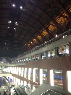 Antwer Central Station at night. This station has 3 floors where the trains are driving through.