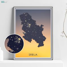 SRBIJA map - Serbia sunset map - Travel poster - Home Decor - Wall decor - Office map - Serbia gift - GeoGIS studio Office Wall Decor, Wall Art Decor, New York City Map, Map Shop, Country Maps, Skyline Art, Custom Map, All Poster, Metallic Colors